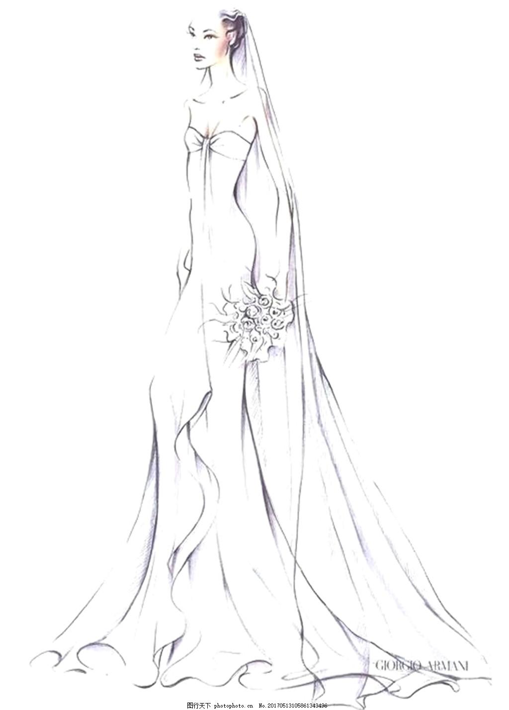 白色婚纱长裙设计图