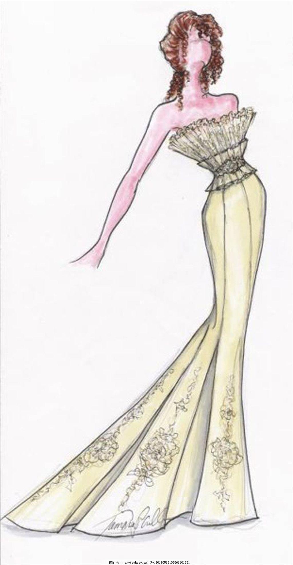 花纹礼服设计图 时尚女装 职业女装 女装设计效果图 短裙 服装图片