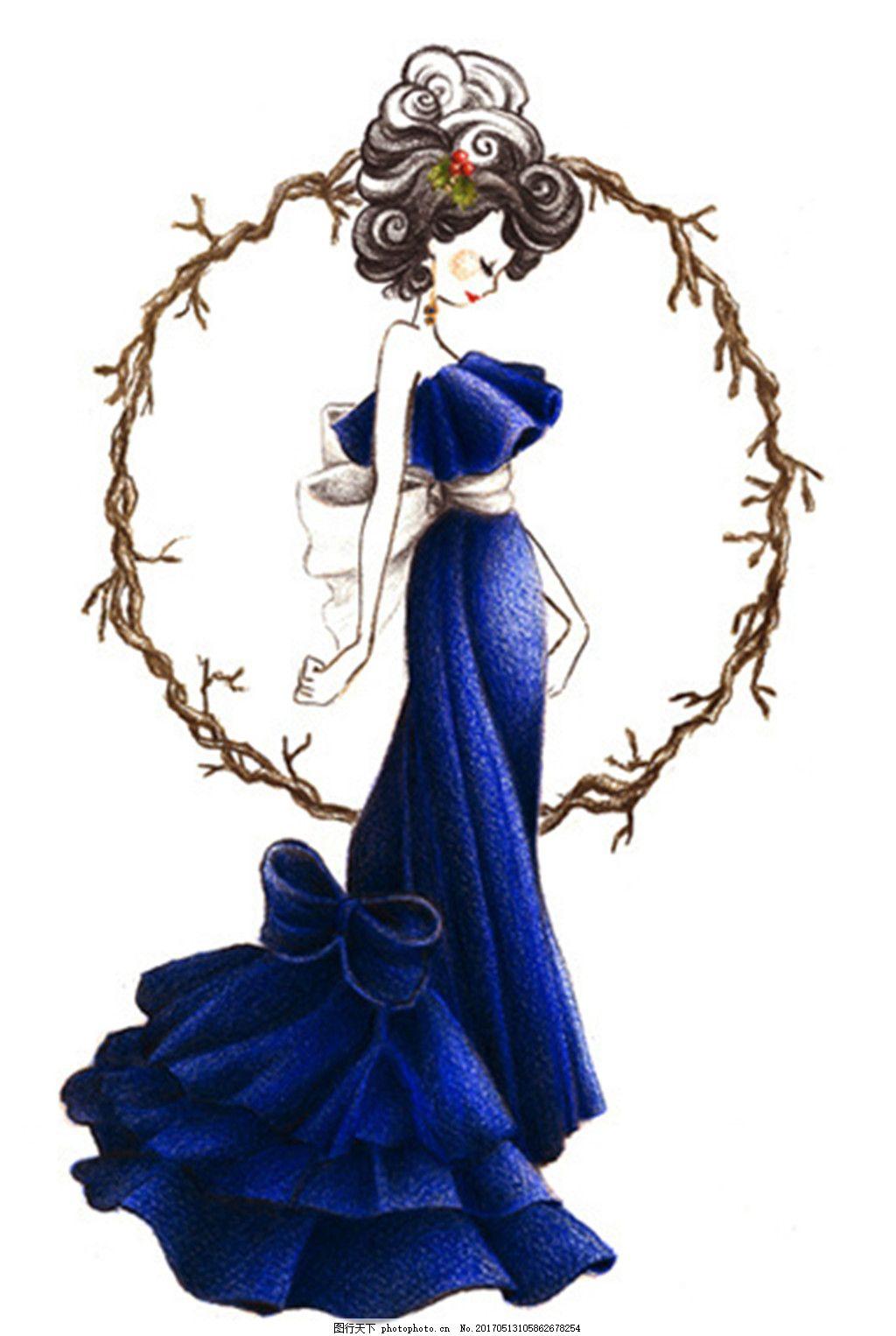 设计图库 现代科技 服装设计  蓝色抹胸长裙礼服设计图 服装设计 时尚