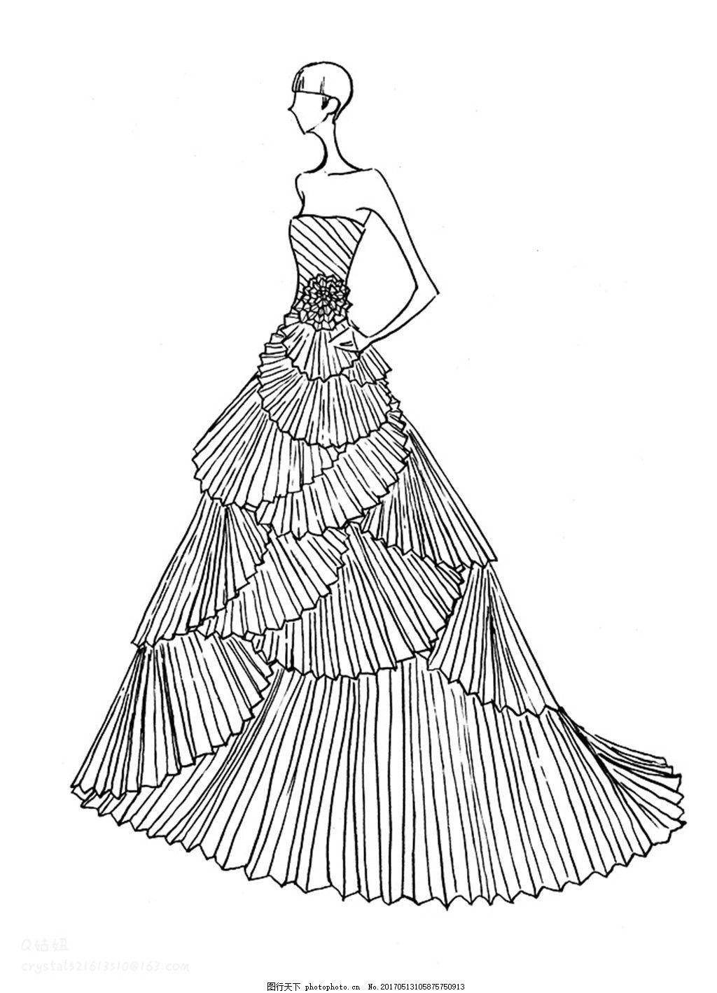 设计图库 现代科技 服装设计  单肩扇形礼服设计图 服装设计 时尚女装