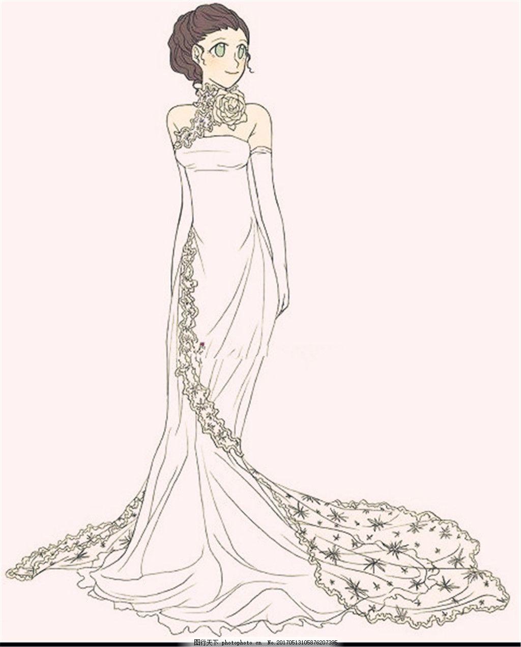 花边婚纱长裙设计图