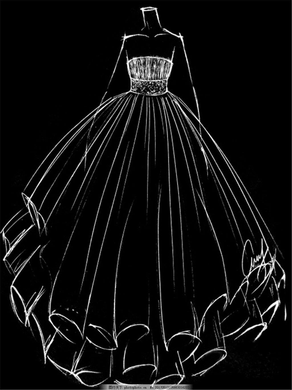 抹胸婚纱设计图 时尚女装 职业女装 女装设计效果图 短裙 服装图片
