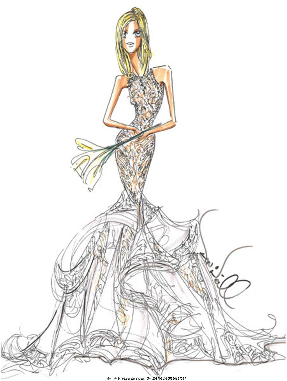 花纹鱼尾婚纱裙设计图