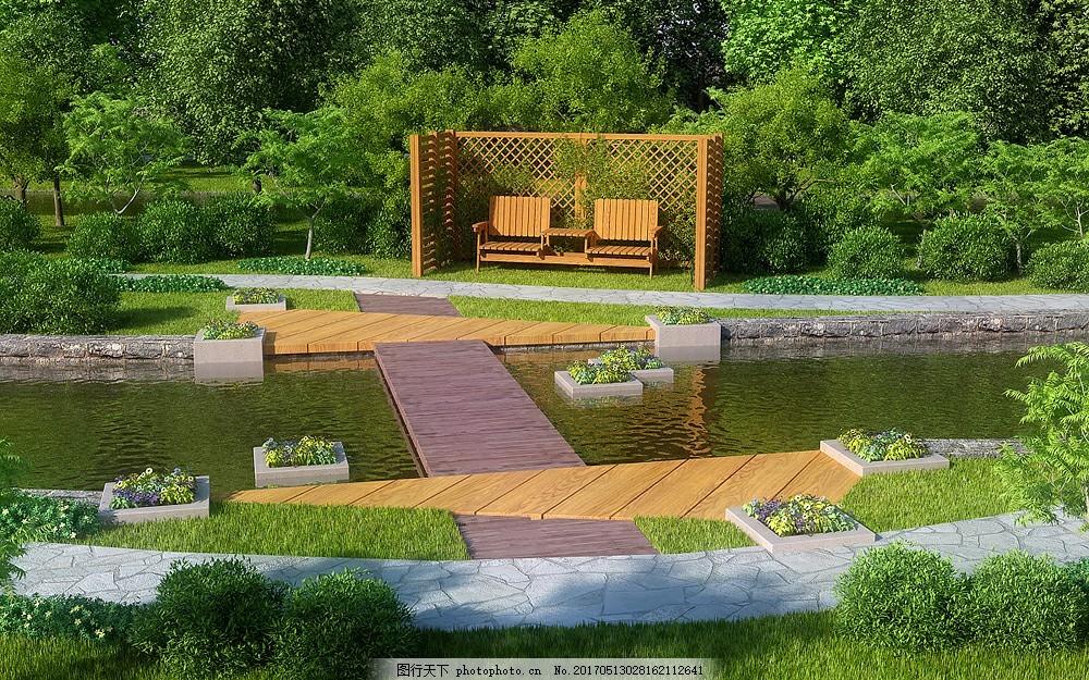 公园绿化场景模型 带灯光材质 绿化设计 室外模型 景观园林模型