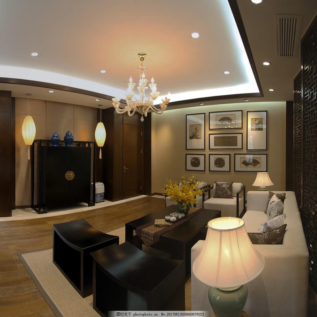 新中式客厅简装效果图 室内设计 家装效果图 现代装修效果图 时尚