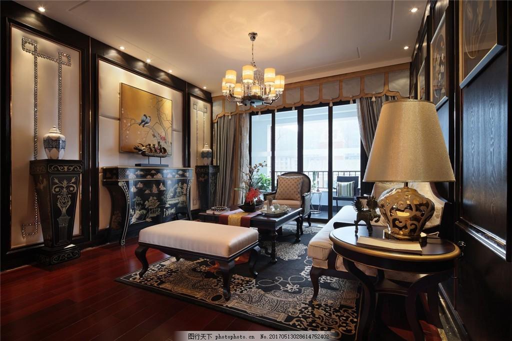 中式风格客厅装修效果图 书柜 沙发 桌子 窗帘 家具 时尚家居 室内