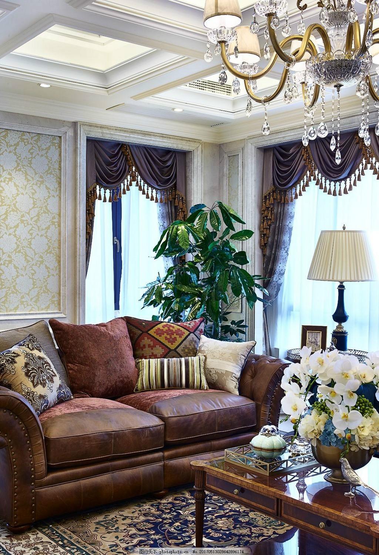 美式皮沙发客厅装修效果图图片