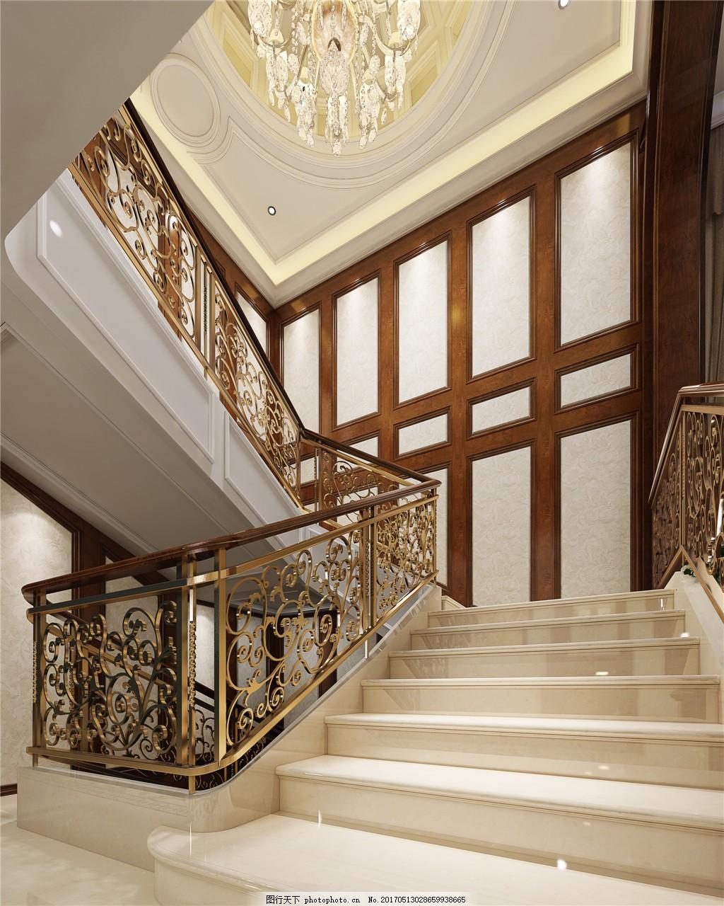 欧式豪华楼梯吊灯设计图