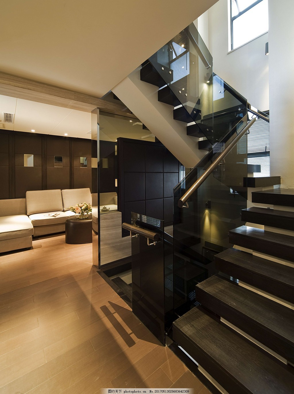 豪华别墅客厅楼梯间装修效果图 室内设计 家装效果图 现代装修效果图