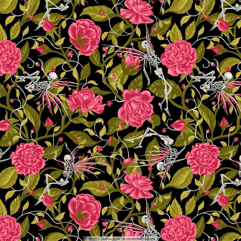 红色花丛布艺壁纸 中式花纹背景 壁纸素材 无缝壁纸素材 欧式花纹