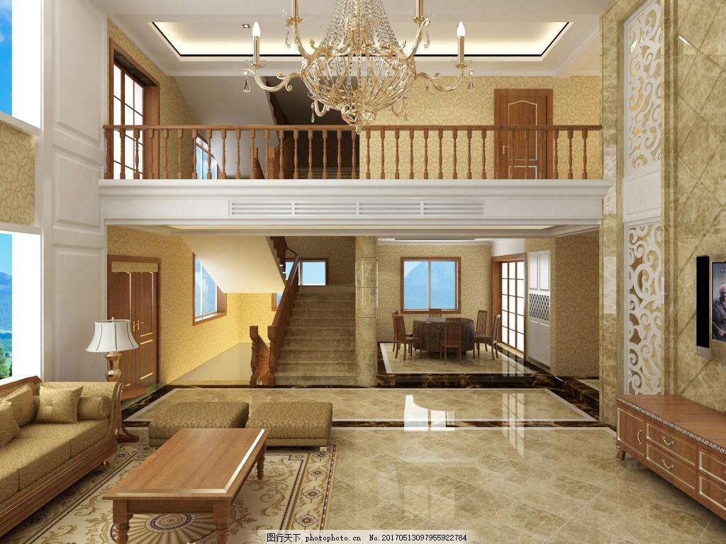 mj1 现代简约 吊顶 客厅 复式楼 别墅效果图图片