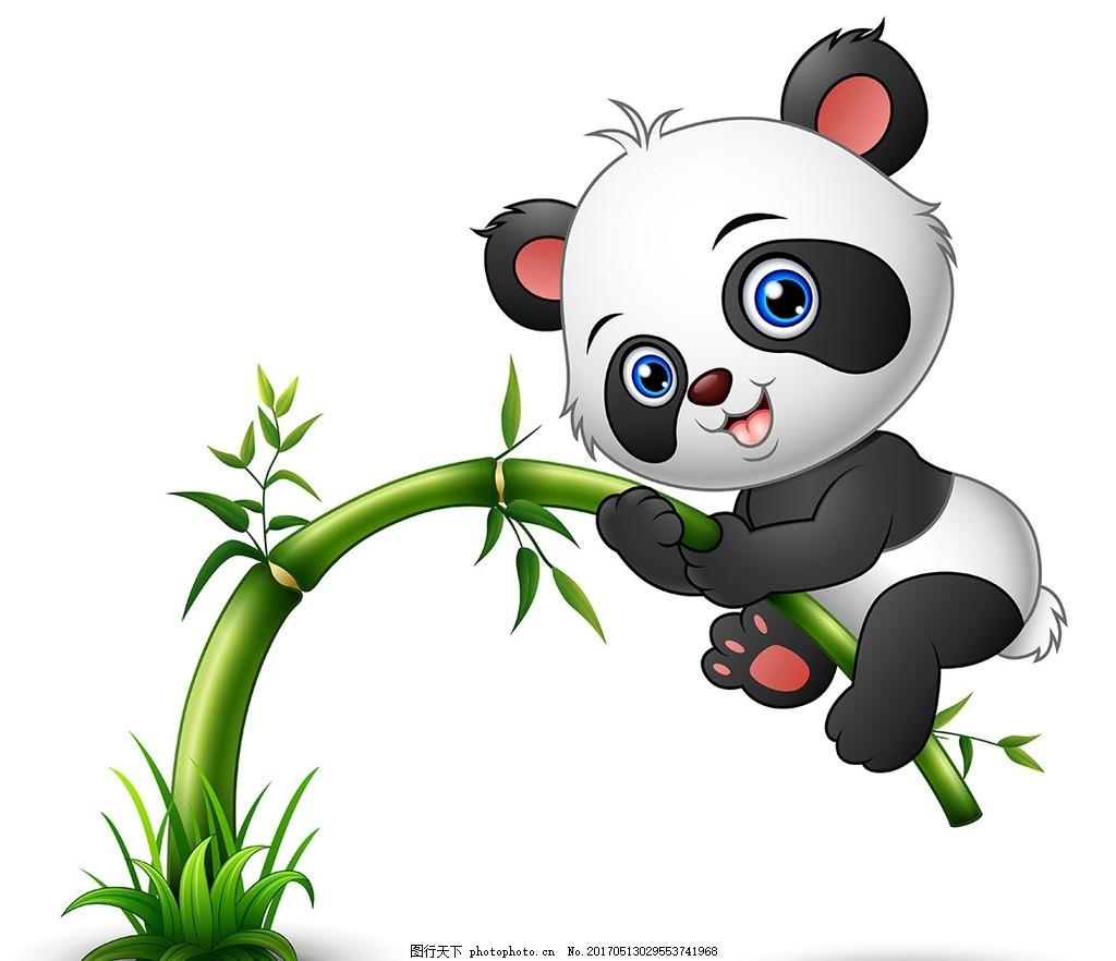 可爱动物 大熊猫 竹子动漫 立体 卡通插画 矢量素材 卡通动物矢量图