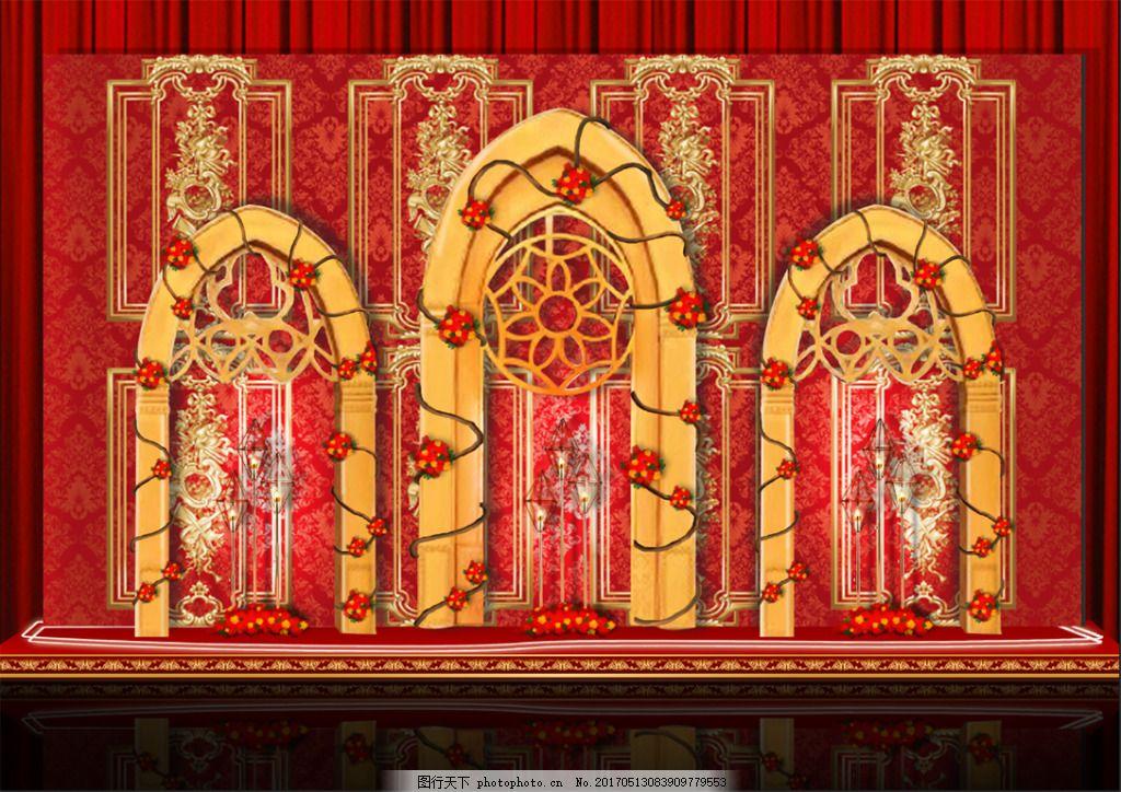 红色欧式宫廷婚礼效果图