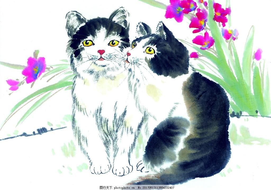 色彩 水墨 中国风 水墨画 水墨画猫 水墨动物 设计 文化艺术 绘画书法