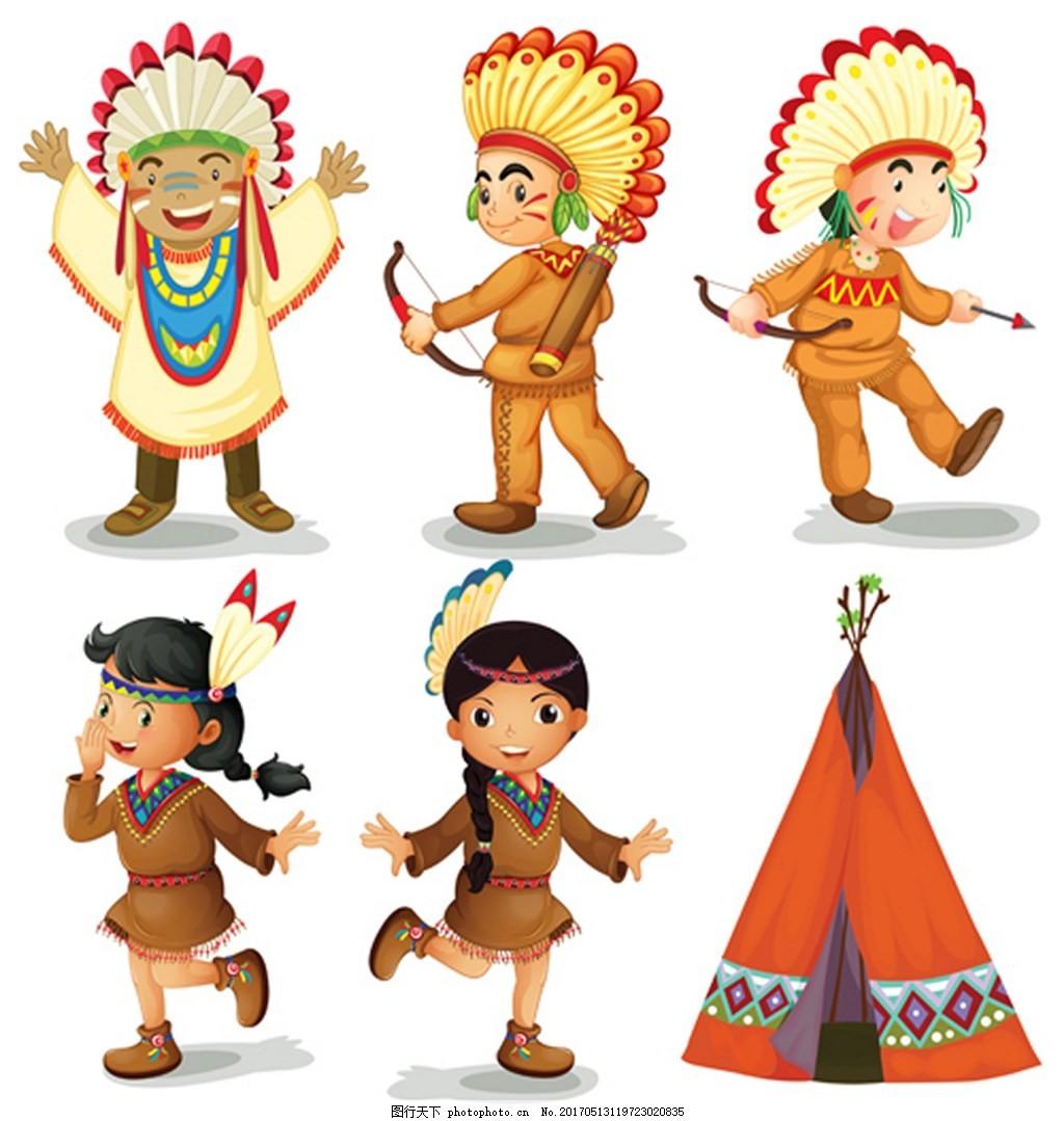 可爱原始部落人物矢量图