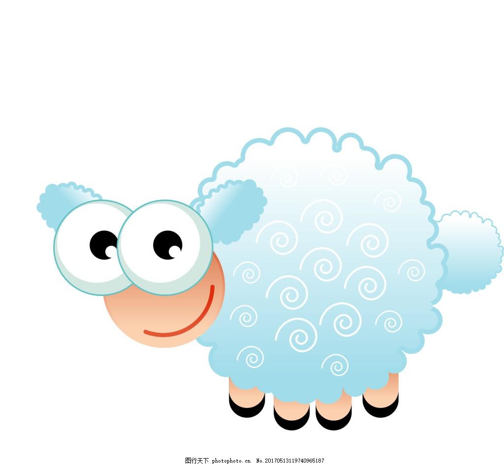 矢量卡通小绵羊eps 卡通动物矢量素材模板下载 卡通动物矢量素材图片