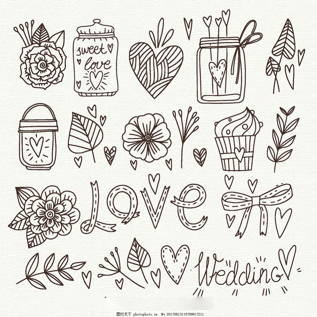 手绘素描风格爱情主题元素插图 玫瑰花 叶子 冰淇淋 英文艺术字