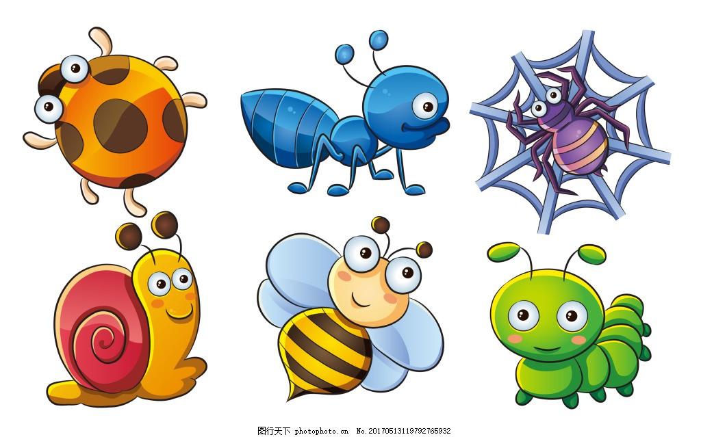 卡通矢量可爱动物昆虫装饰图案创意元素设计图片