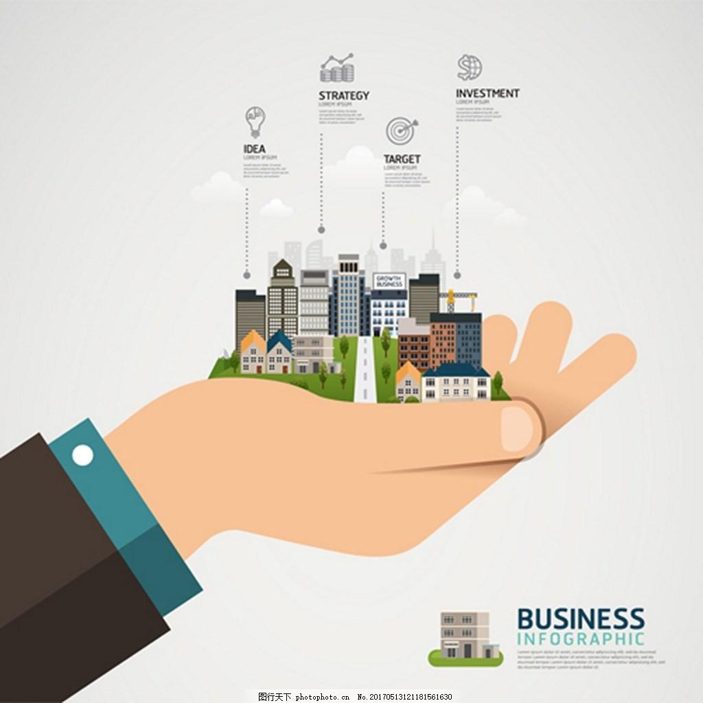 商务信息图创意设计图 广告背景 背景素材 素材免费下载 手 城市