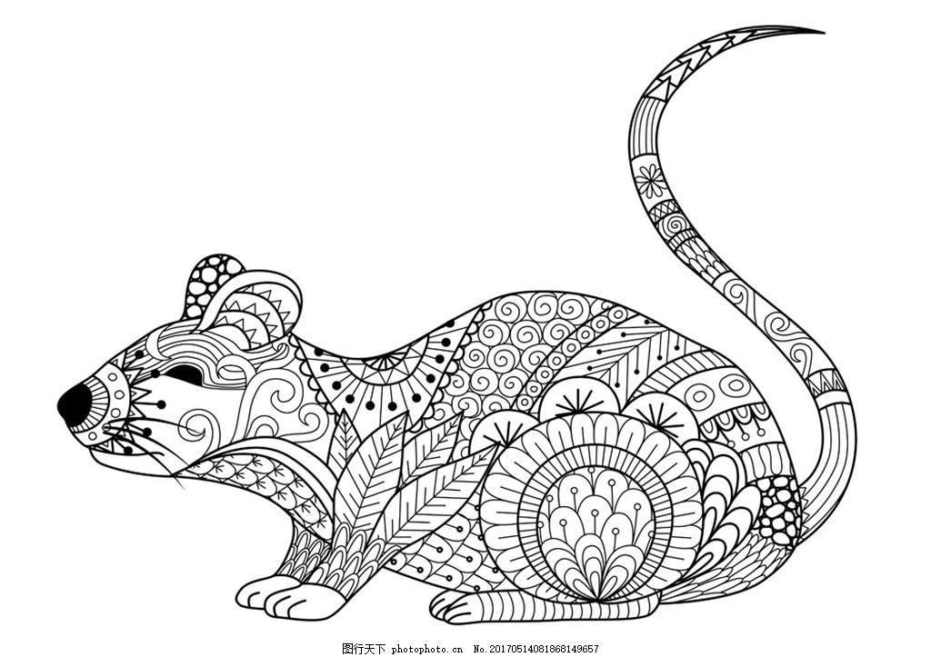卡通老鼠插画 卡通动物漫画 矢量动物插画 动物插图 线形动物 陆地