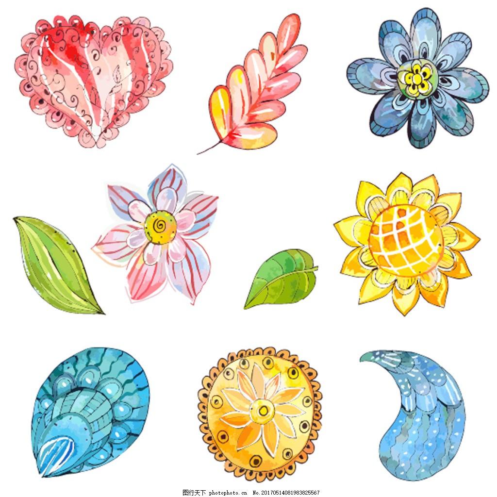手绘卡通花朵 叶子 水彩