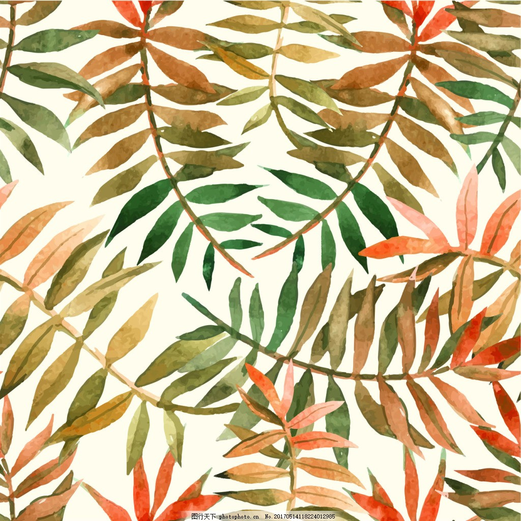 水彩叶子背景 植物 水彩绘 手绘 底纹