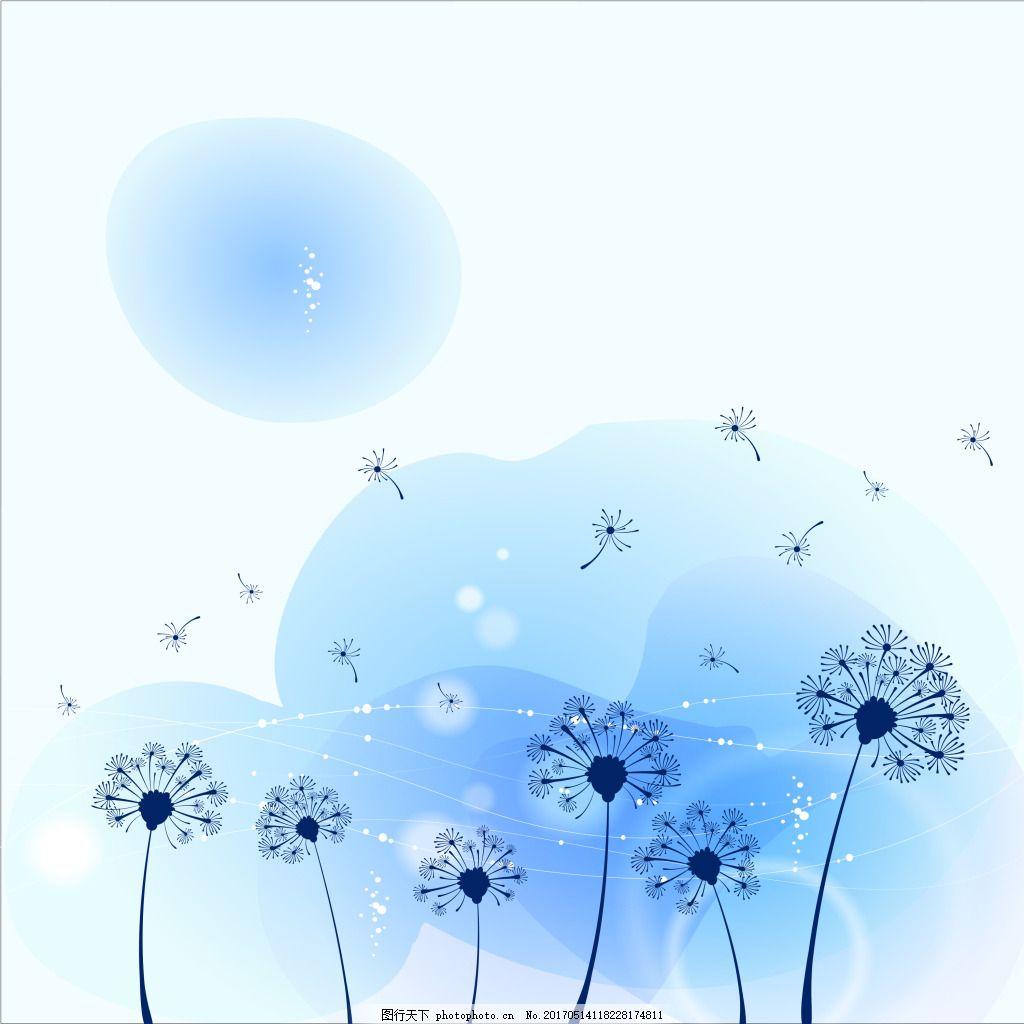 夏季小花蓝色唯美背景
