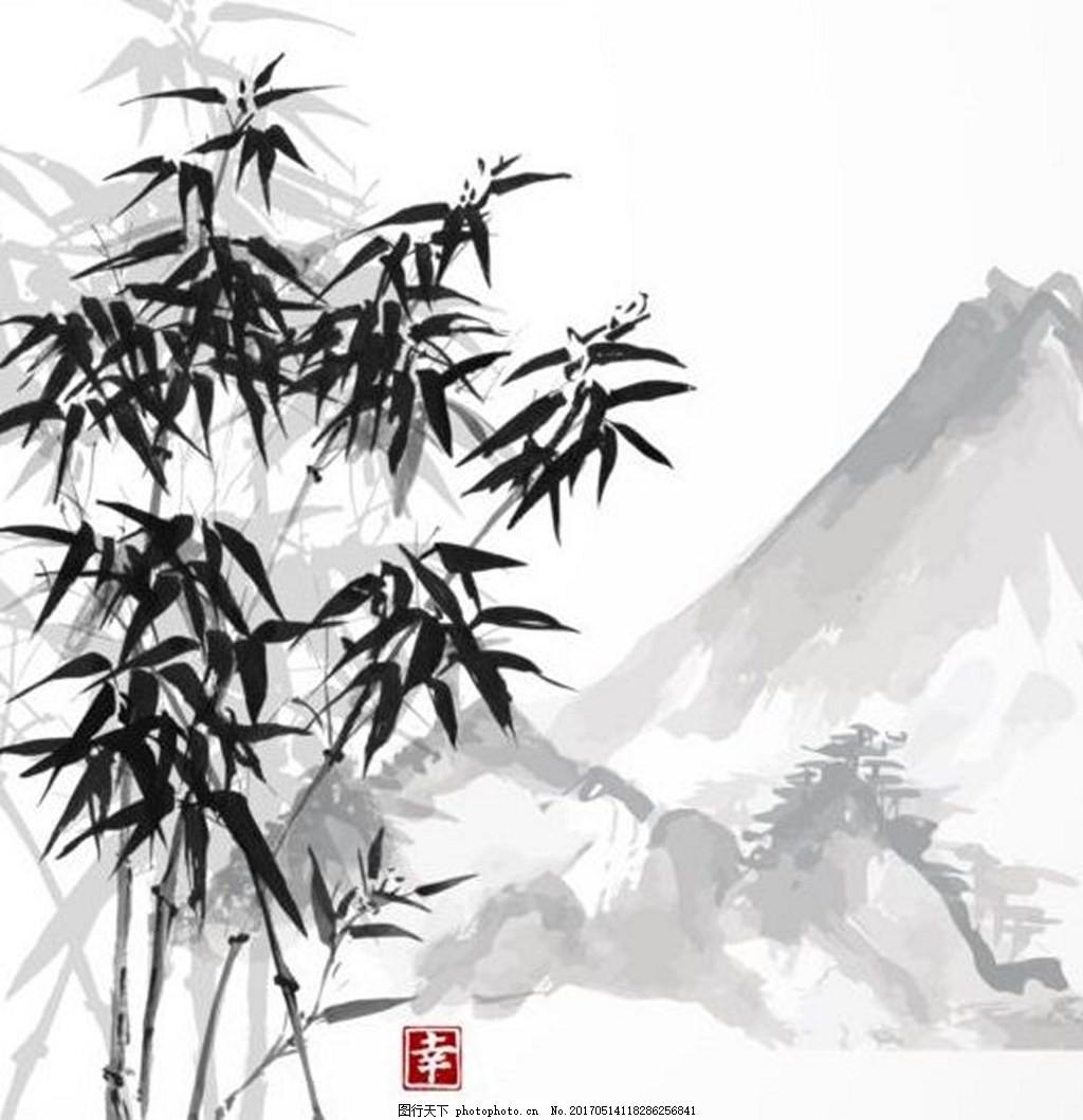 山水画背景素材 竹子 水墨画