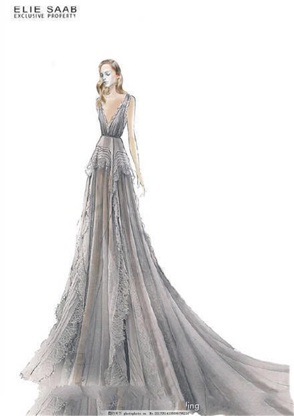 设计图库 现代科技 服装设计  灰色深v礼服设计图 服装设计 时尚女装