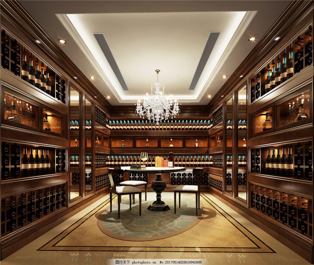 欧式豪华酒窖酒柜设计图