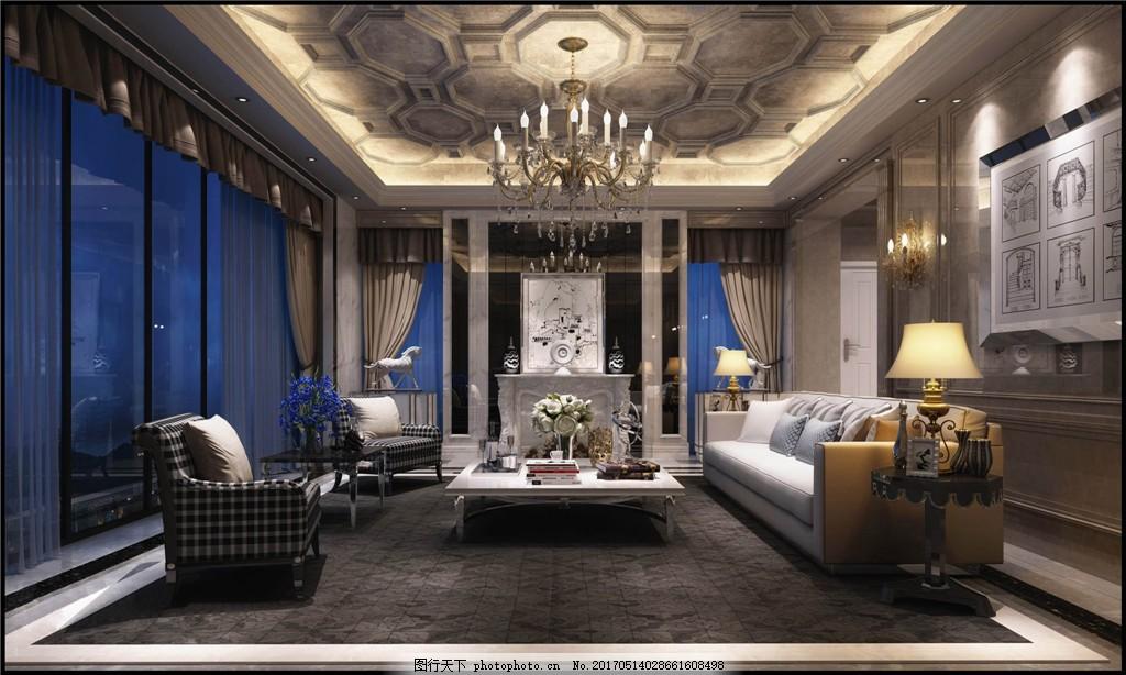 欧式客厅简装效果图 室内设计 家装效果图 欧式装修效果图 时尚 奢华