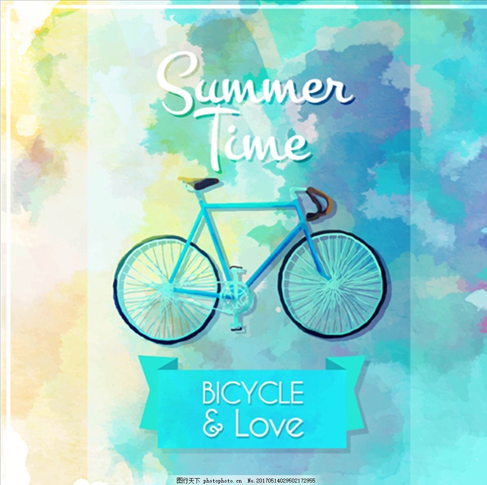 手绘水彩自行车海报