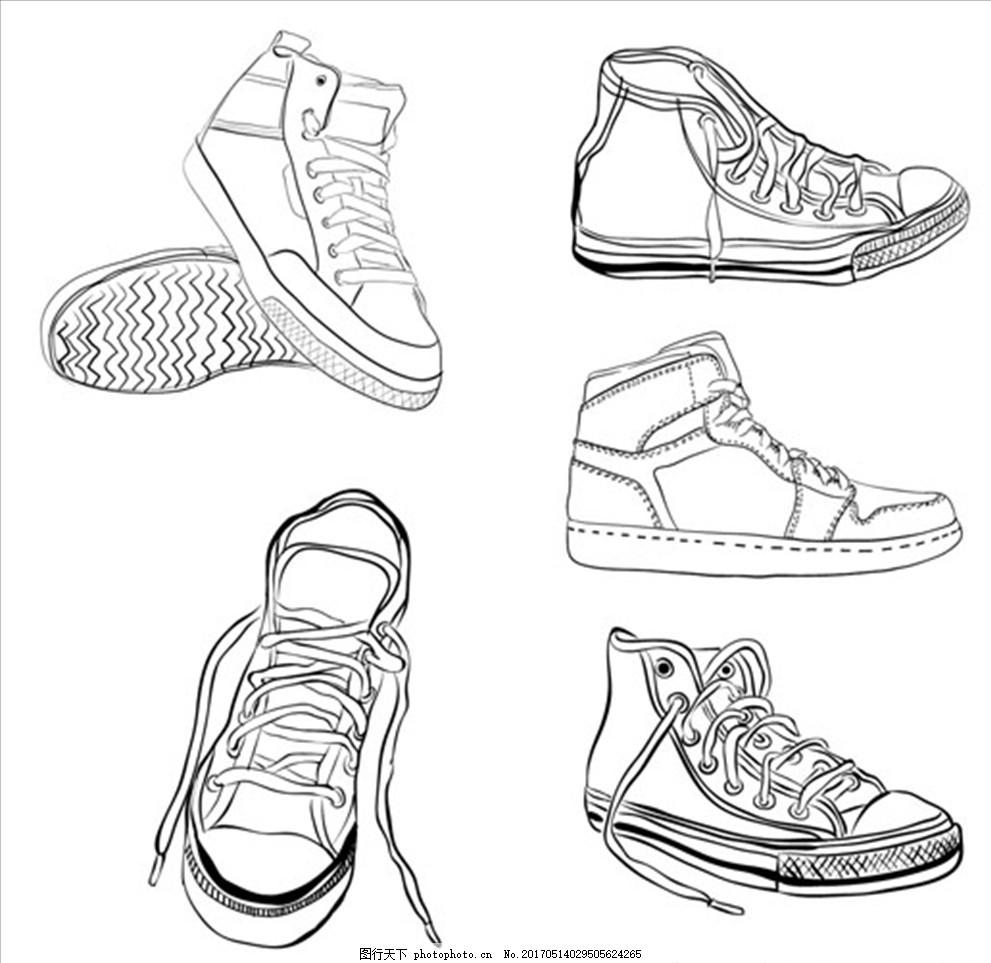 手绘线稿运动鞋插图集 运动鞋海报 品牌运动鞋 运动鞋广告 运动鞋主图