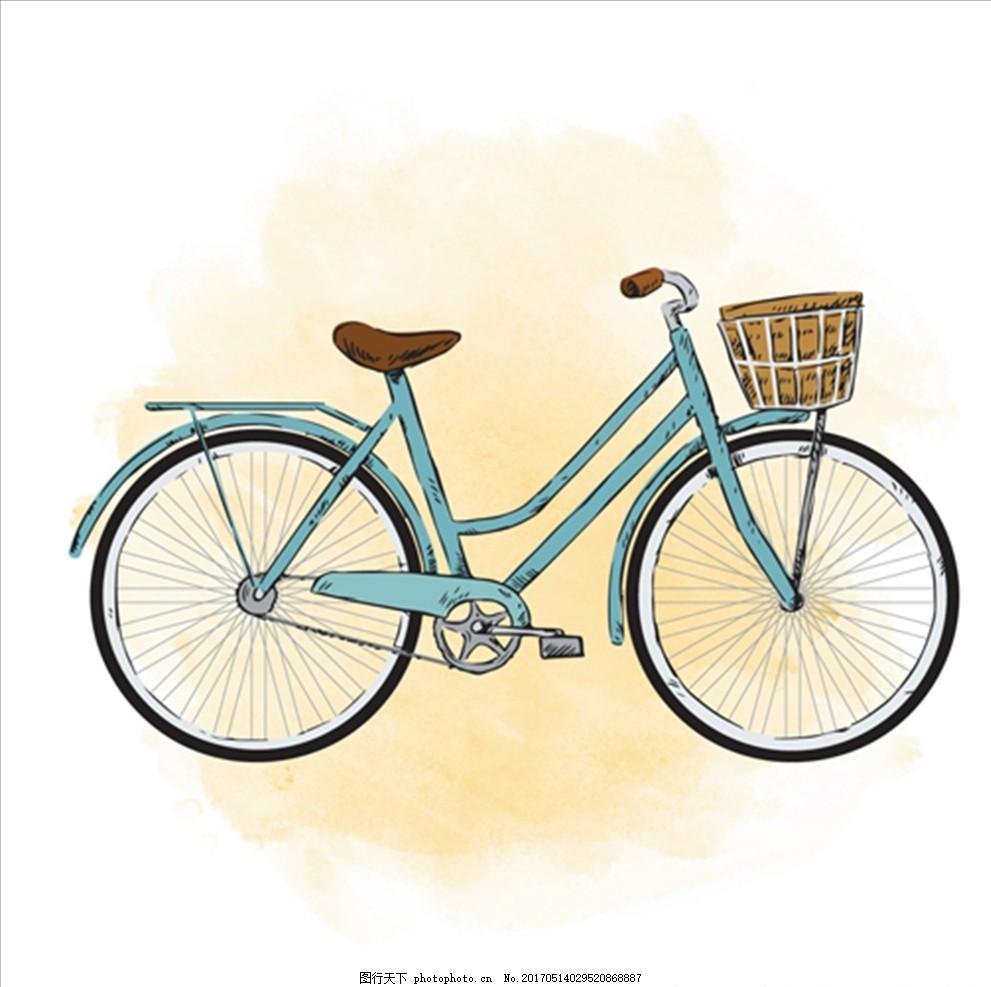 手绘水彩自行车插图