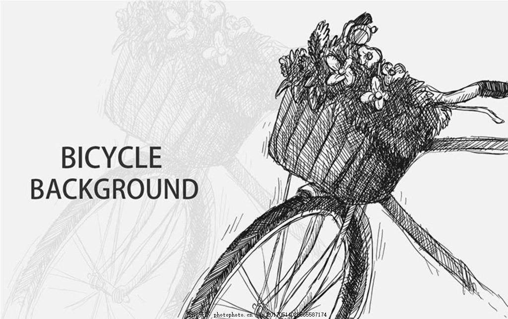 设计图库 广告设计 设计案例  手绘素描老式有篮子的自行车 自行车