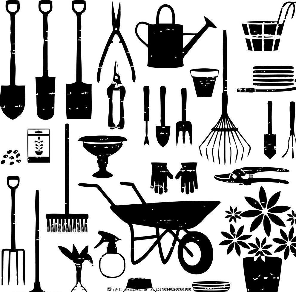 花园园艺工具设计矢量素材 盆栽 花盆 房子 房屋 洒水壶 剪刀