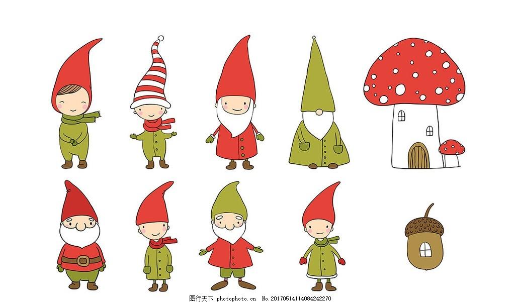多款彩色卡通戴帽子的小人矢量