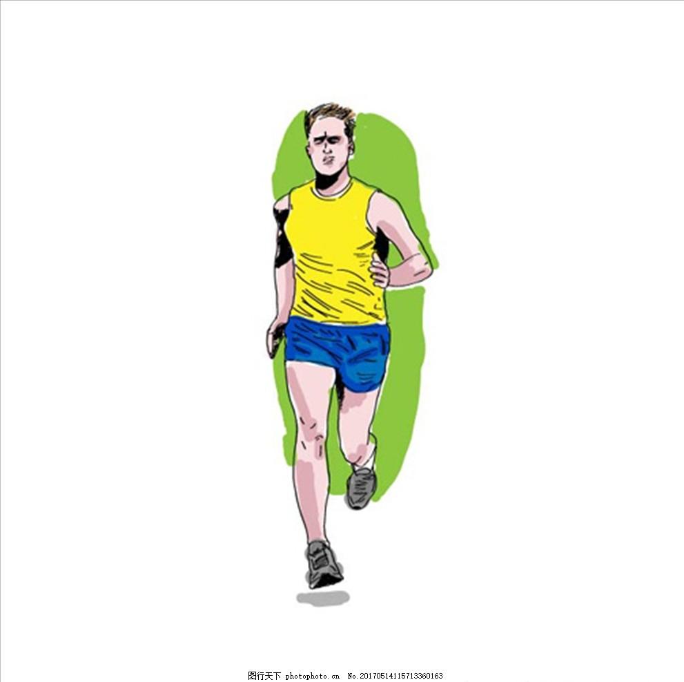 手绘水彩跑步男运动员