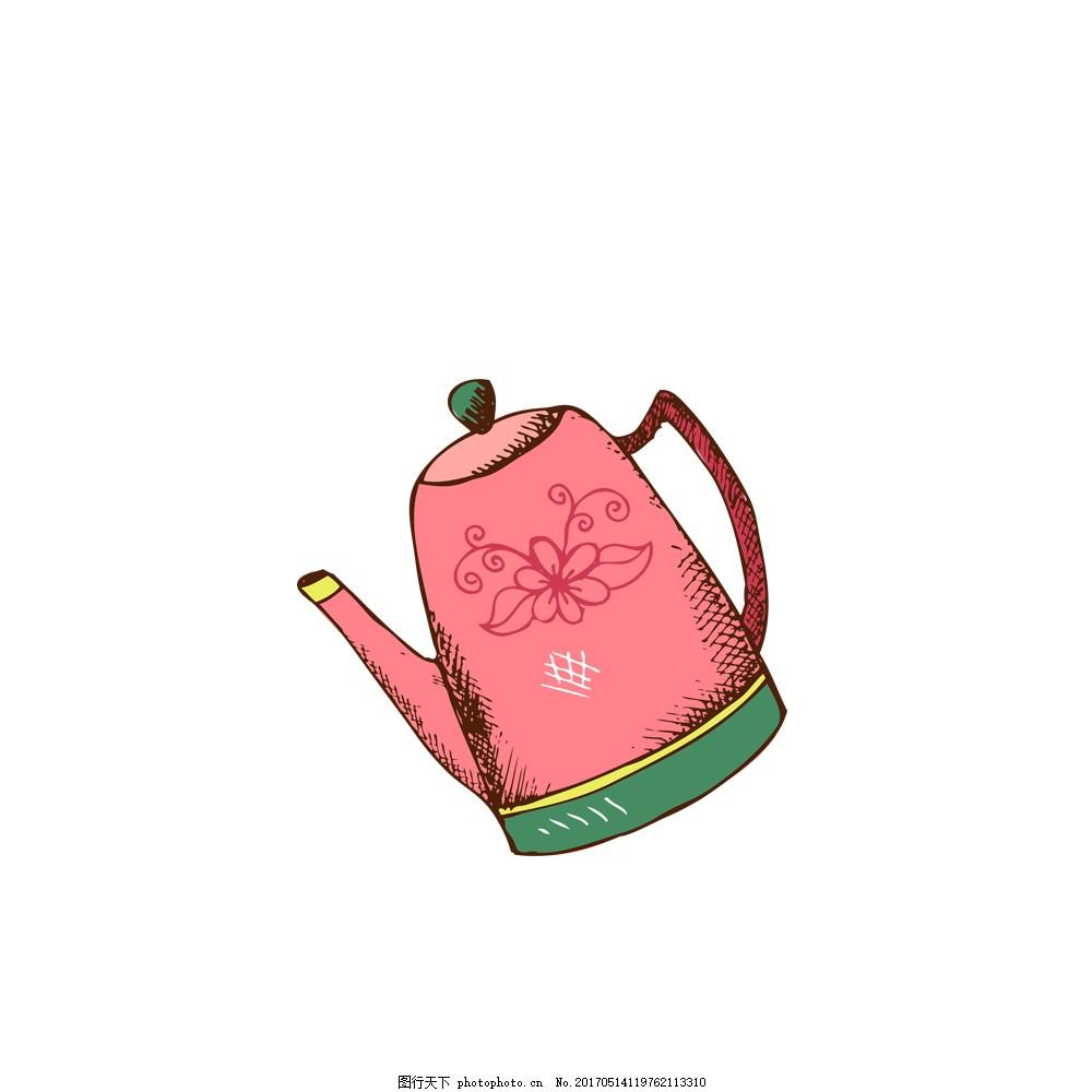 手绘卡通粉色茶壶