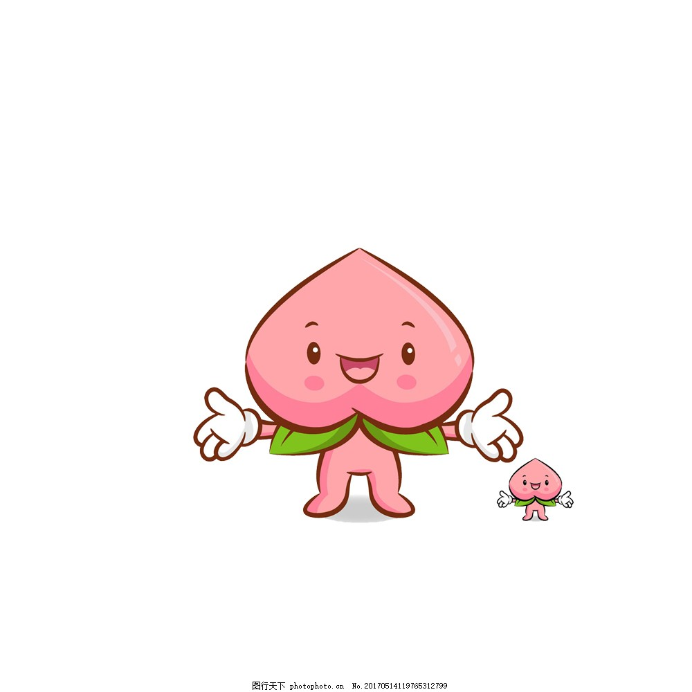 手绘卡通粉色蜜桃小人 可爱 文艺 小清新 手绘 卡通 粉色 蜜桃小人