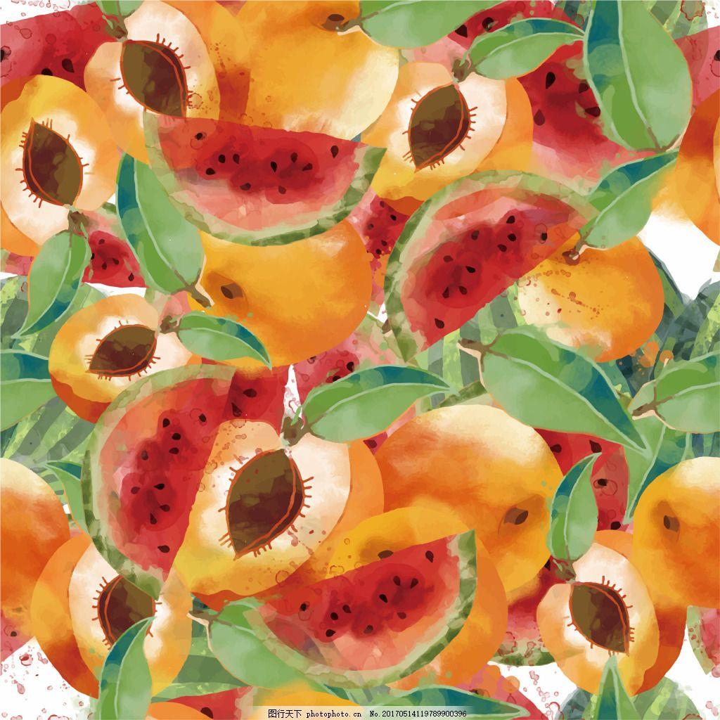 西瓜桃子装饰图案 西瓜 桃子 手绘 水彩 底纹 水果 小清新 夏天 清爽