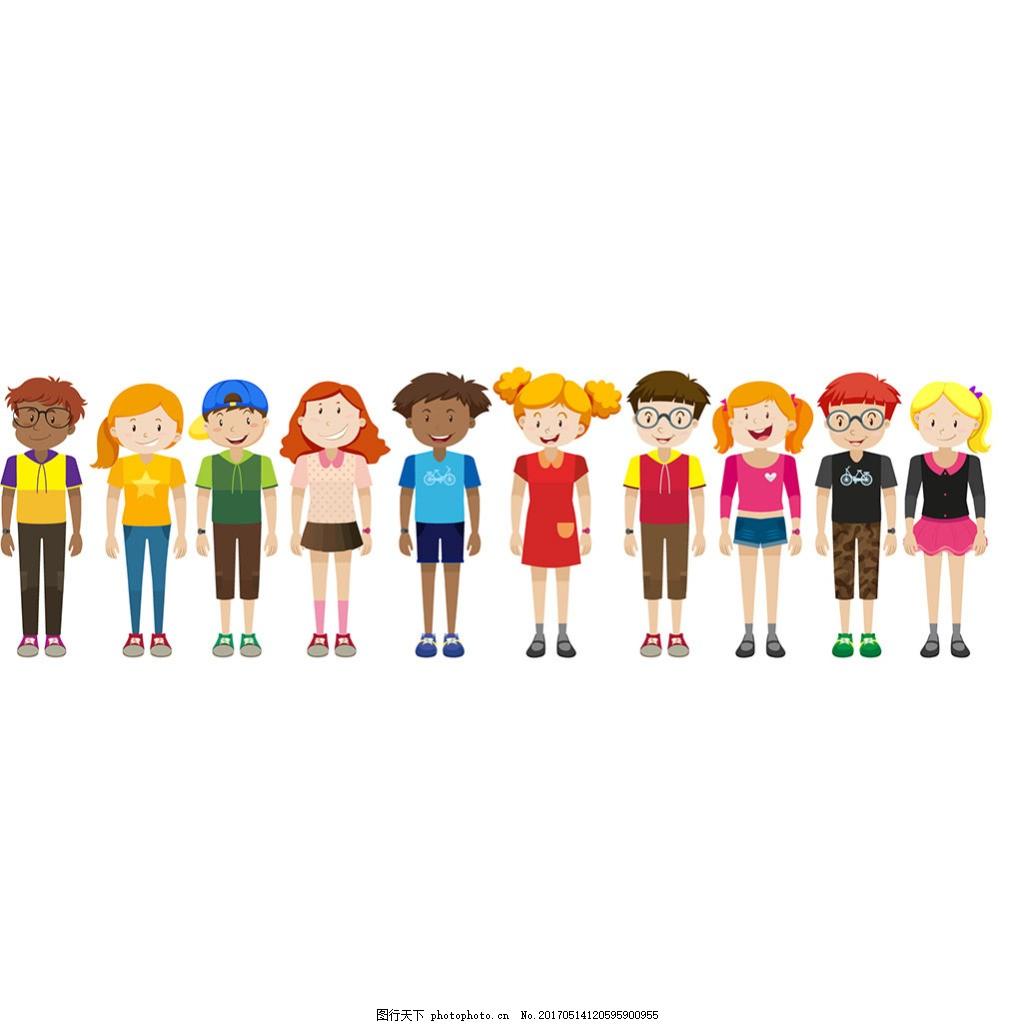 手绘少年儿童角色插图矢量素材