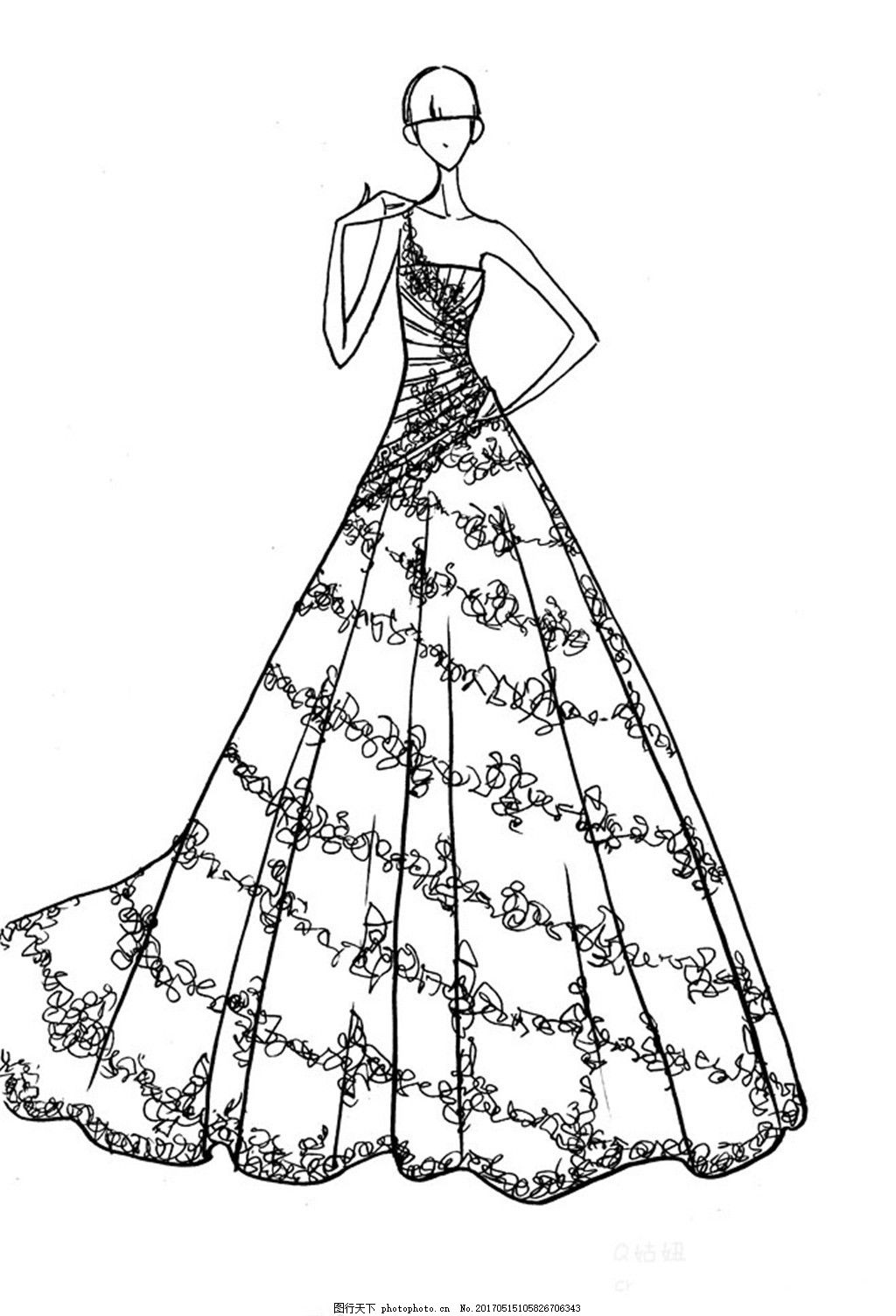设计图库 现代科技 服装设计  花纹单肩礼服设计图 服装设计 时尚女装