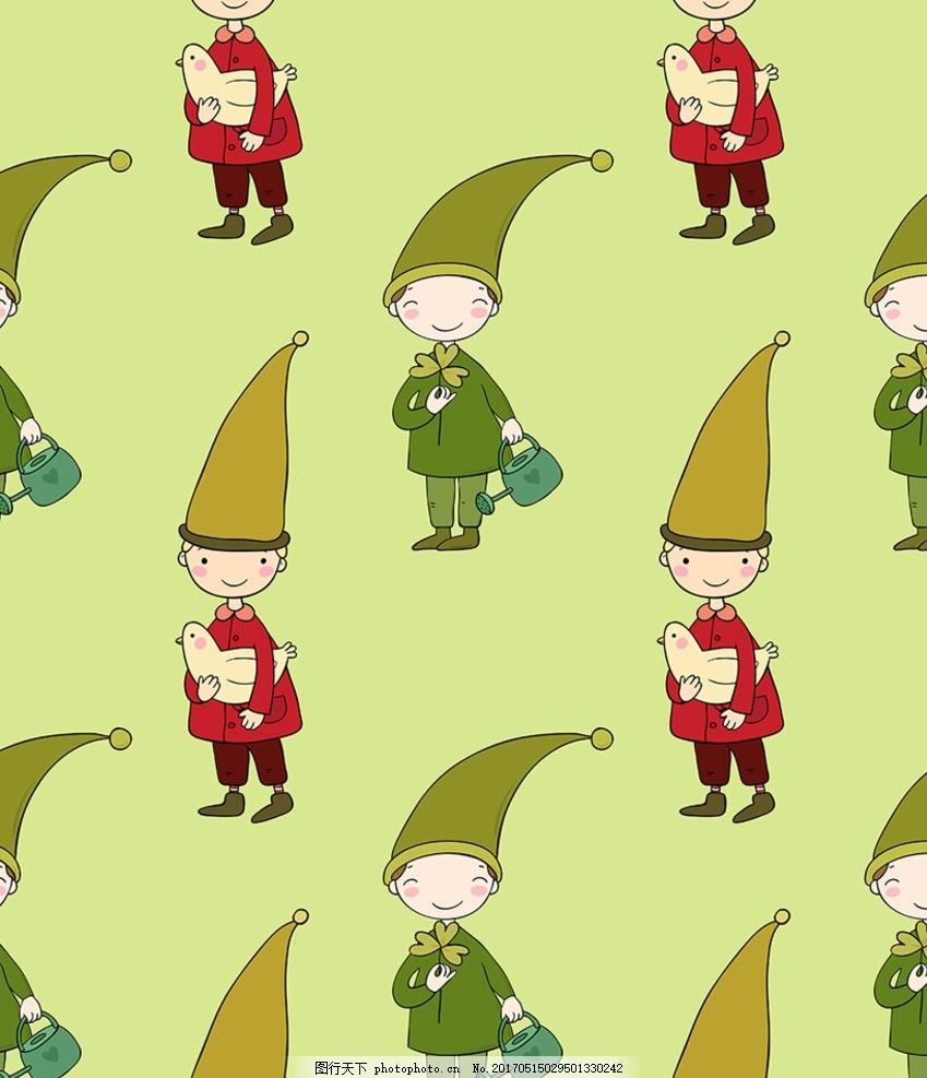 绿色卡通人物墙纸背景矢量 儿童背景 鸽子 小孩 卡通壁纸 卡通背景