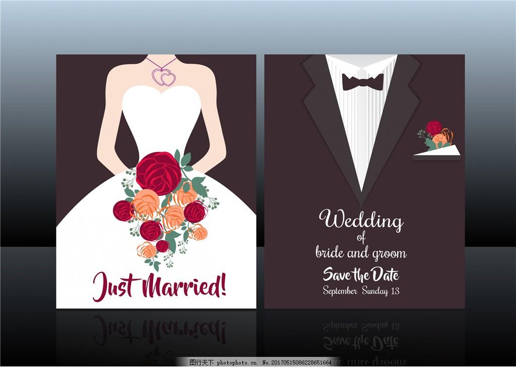 婚礼邀请函 邀请函 邀请卡 矢量素材 婚期 婚礼 婚庆 礼服 手绘花卉