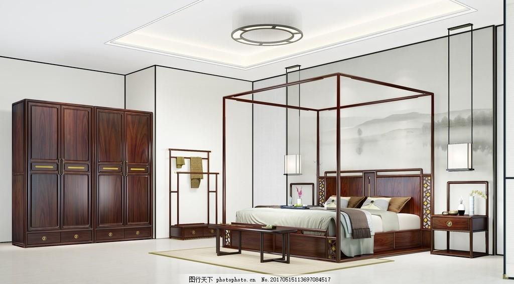 实木床 实木衣柜 新中式大床 架子床 大床组合 设计 广告设计 画册
