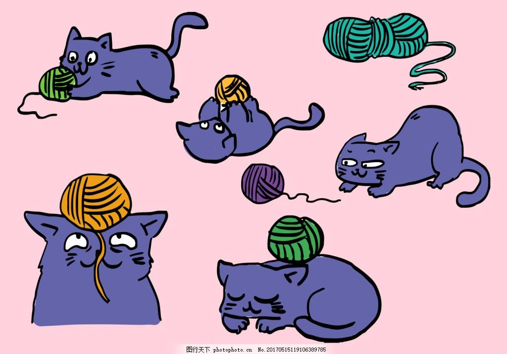 可爱卡通手绘猫咪