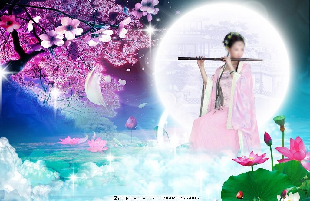 梦幻仙境 仙女 中国风 古装美女 古典美女 鲜花 花瓣 荷花 荷叶 莲花