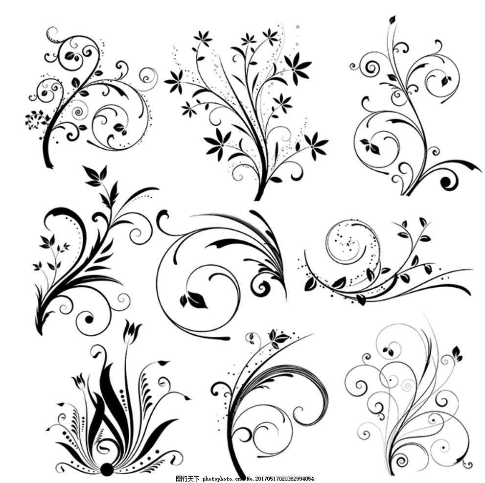矢量藤线条花边花纹素材 边框 藤蔓