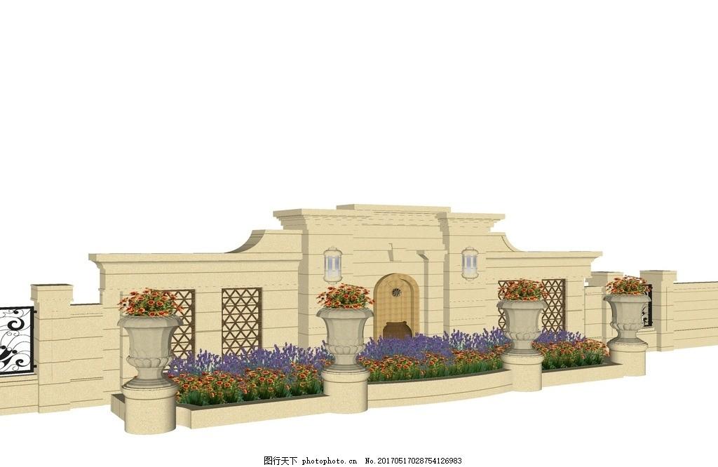 su景墙模型 中式景墙 欧式景墙 景观设计 庭院设计 会所设计